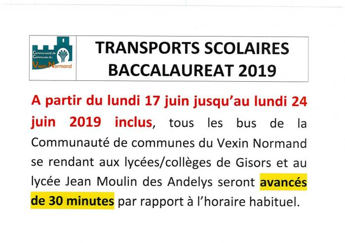 Transport scolaire baccalaureat 1